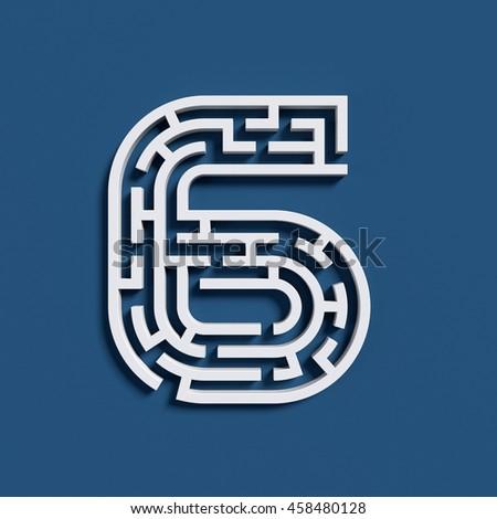 Maze font 3d rendering number 6