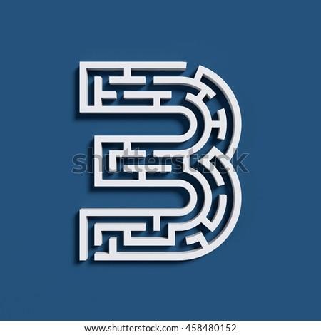 Maze font 3d rendering number 3