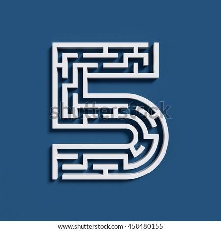 Maze font 3d rendering number 5