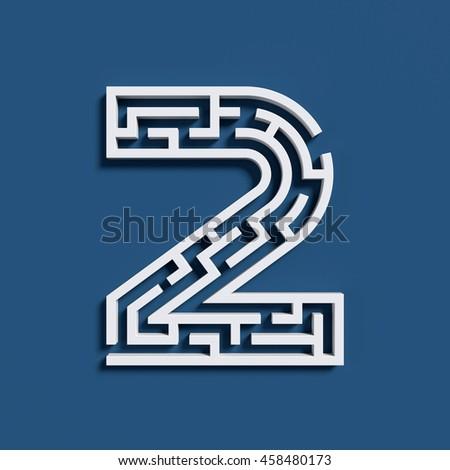 Maze font 3d rendering number 2