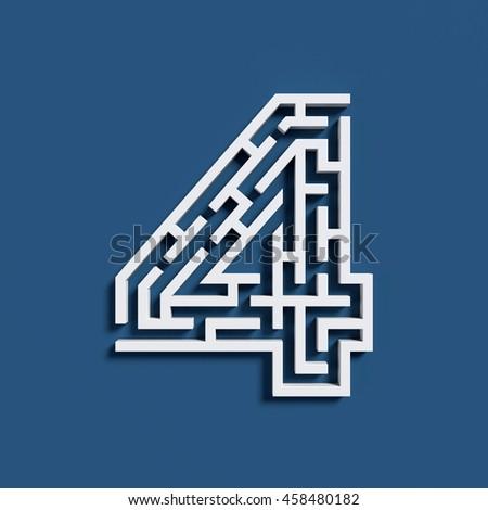 Maze font 3d rendering number 4