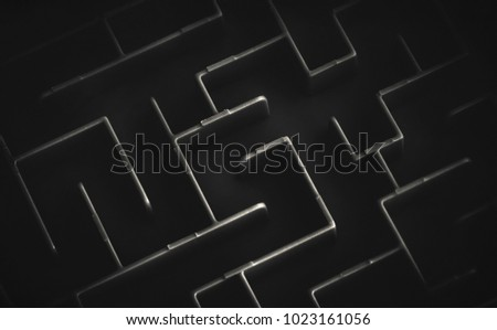 maze in black and white background - Shutterstock ID 1023161056