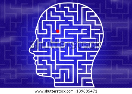 Maze in head on blue background