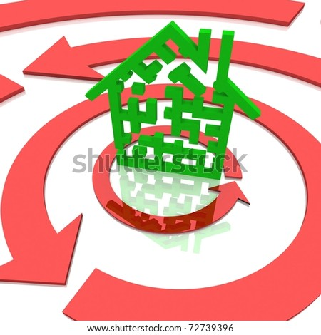maze in the shape of the house around which the circular arrows