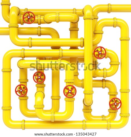 maze of gas pipes. Isolated on white.