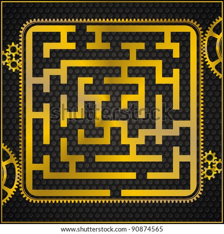 maze or labyrinth as golden gear on black pattern background