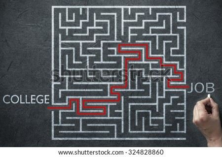 Maze path solution leading from college to job