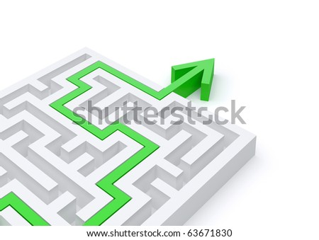 Maze solved by green arrow
