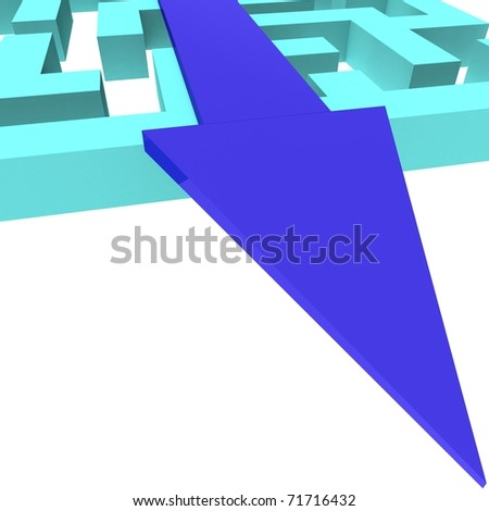 Maze square of white planes along which runs a blue arrow. 3d computer modeling