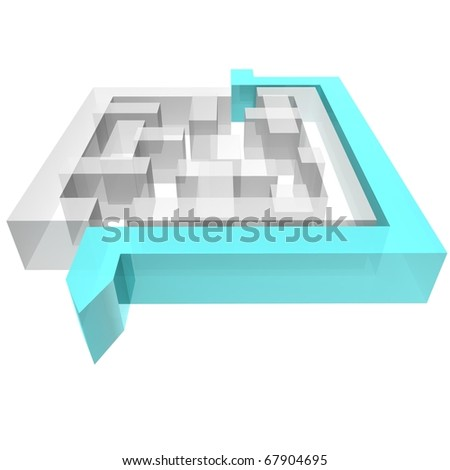 maze square of white planes around which avoids the blue arrow. 3d computer modeling