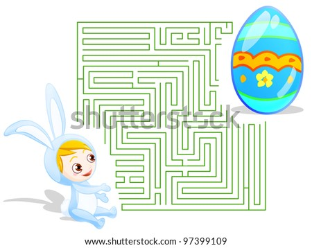 Maze theme for Easter. includes clipping path for select, and one with solution