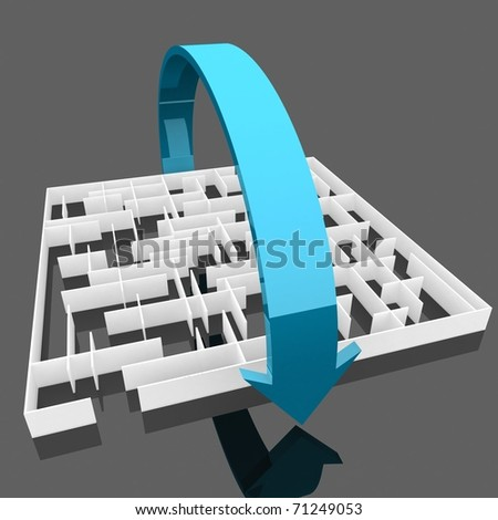 maze, through which the blue arrow. Computer Simulation - stock photo