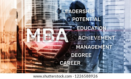 MBA - Master of business administration, e-learning, education and personal development concept.