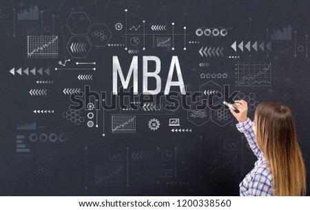 MBA with young woman writing on a blackboard