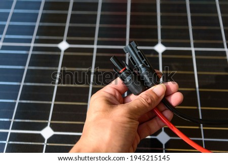 MC4 socket connector of solar cell panel Stock photo ©