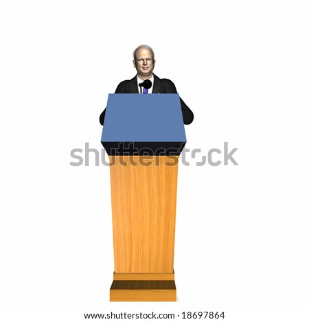 McCain speaking at a Podium. Republican.