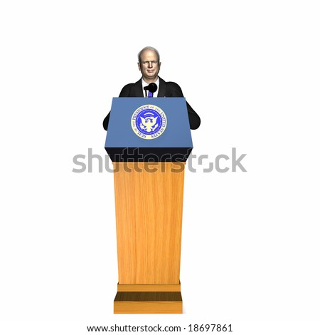 McCain standing at the Presidential Podium. Republican.