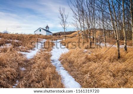 McDougal Church in the prairies of southern Alberta, Canada