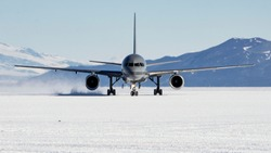 Mcmurdo Station, Antarctica- Febuary 22 2018: A Royal New Zealand Air Force Boeing 757 lands at Phoenix Airfield to support the U.S and New Zealand Antarctic Programs.
