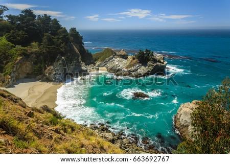 Mcway Falls beach waterfall on the Big Sur Coast of California