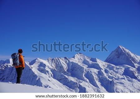 me contemplating Val d'Hérens, Switzerland Stok fotoğraf ©