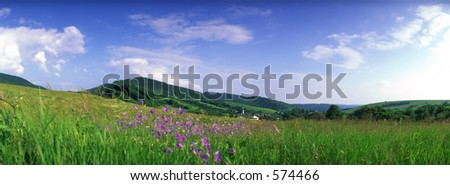 meadow and hills panorama