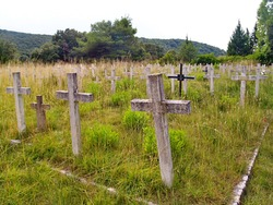 Meadow cemetery in nature with stone and concrete weathered crosses scenery