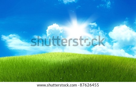Meadow field image with clouds and sun in the background