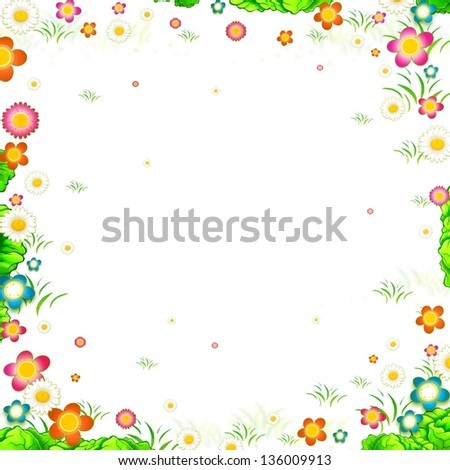 meadow flowers background frame isolated on white