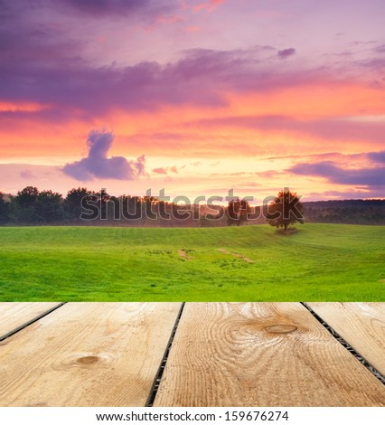 meadow landscape and wooden floor #159676274