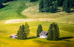 Meadow valley farm house landscape. Farm house in farmland. Farm house landscape