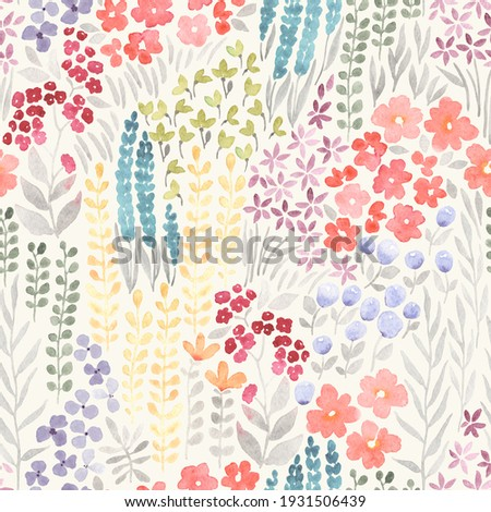 Meadow with flowers, floral seamless pattern of watercolor colorful wildflowers on ivory background, abstract ornament.