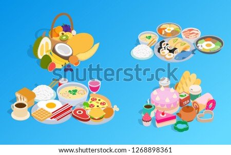 Meal clip art set. Isometric clip art of meal concept icons for web isolated on white background