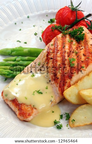 Of Grilled Atlantic Salmon With Potato Wedges, Roasted Truss Tomatoes ...