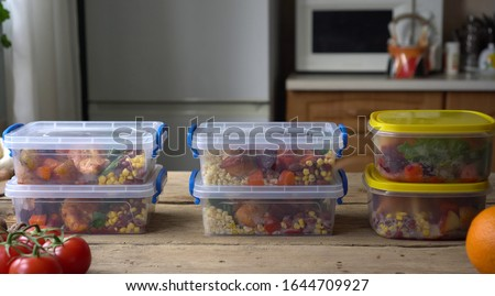Meal Prep Food Storage Containers. Lunch boxes with homemade food. Planning and preparing healthy meals. Advance meal preparation