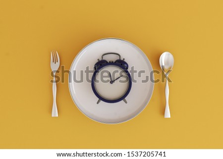 Meal time, Fast food, concept image for hour of meals a day. Plate with clock. 3D illustration
