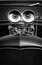 Mean looking eyes on a hotrod