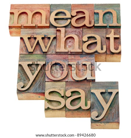 mean what to say - advice in isolated vintage wood letterpress printing blocks