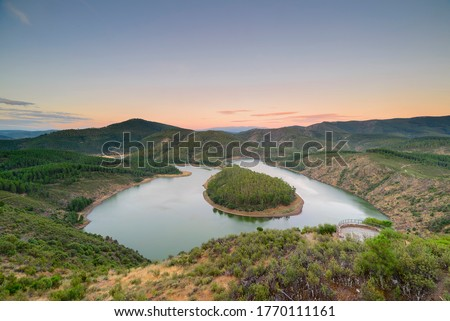 Meander of the river Melero Alagón, Las Hurdes, Extremadura, Spain. This meander is very similar to the canyon of the Colorado River in the United States.
