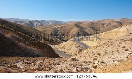 Meandering Road in Sand Hills of Judean Mountain, Israel