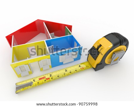 Measure tape and abstract three-dimensional  house. 3d