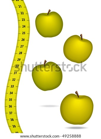 Measure tape with appels. Healthcare concept.
