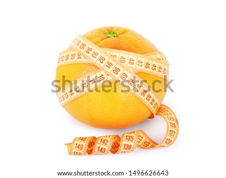 Measured centimeter and grapefruit on a white background