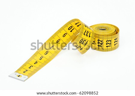 Measured tape of yellow color on a white background