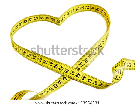 Measurement tape forming the shape of a heart
