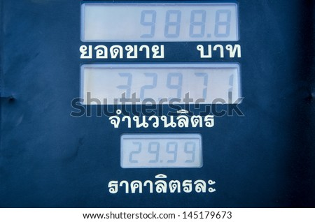 Measures suggested oil prices, sales, number of liters. Fueling at the gas station.
