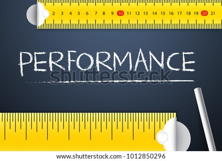 Measuring Business Performance Concept. Two different tape measuring performance word with chalk. Various way of measuring performance against objectives.