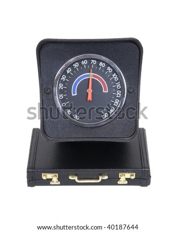 Measuring business with a large gauge on a briefcase - path included