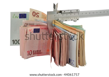 Measuring euro banknotes with vernier caliper, isolated on white.