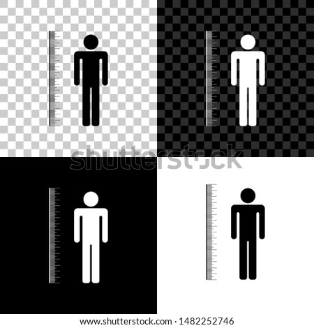 Measuring height body icon isolated on black, white and transparent background